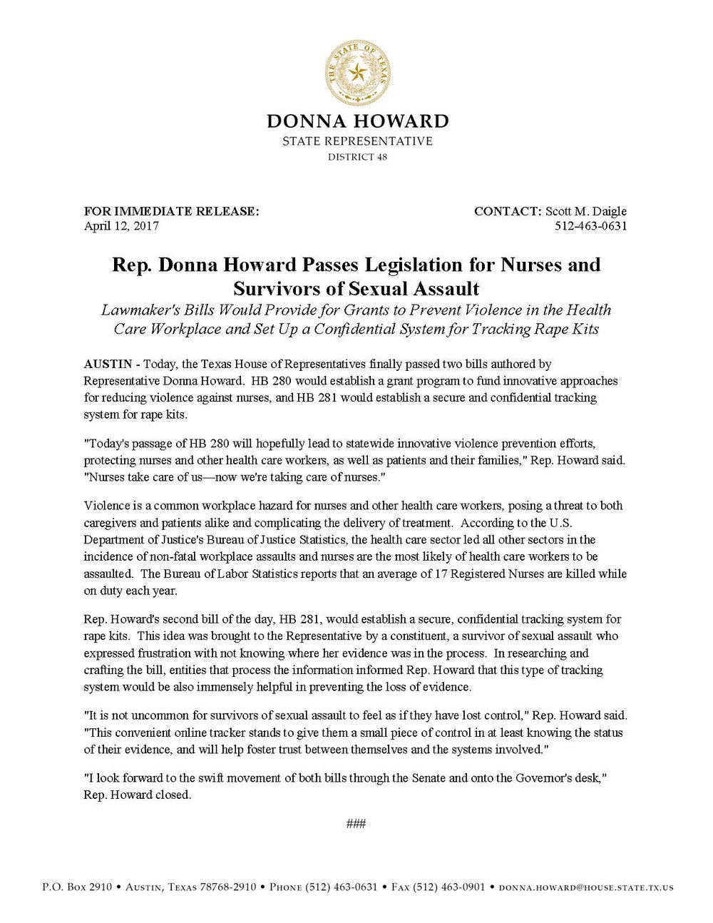 Rep. Howard Passes Legislation for Nurses and Survivors of Sexual Assault