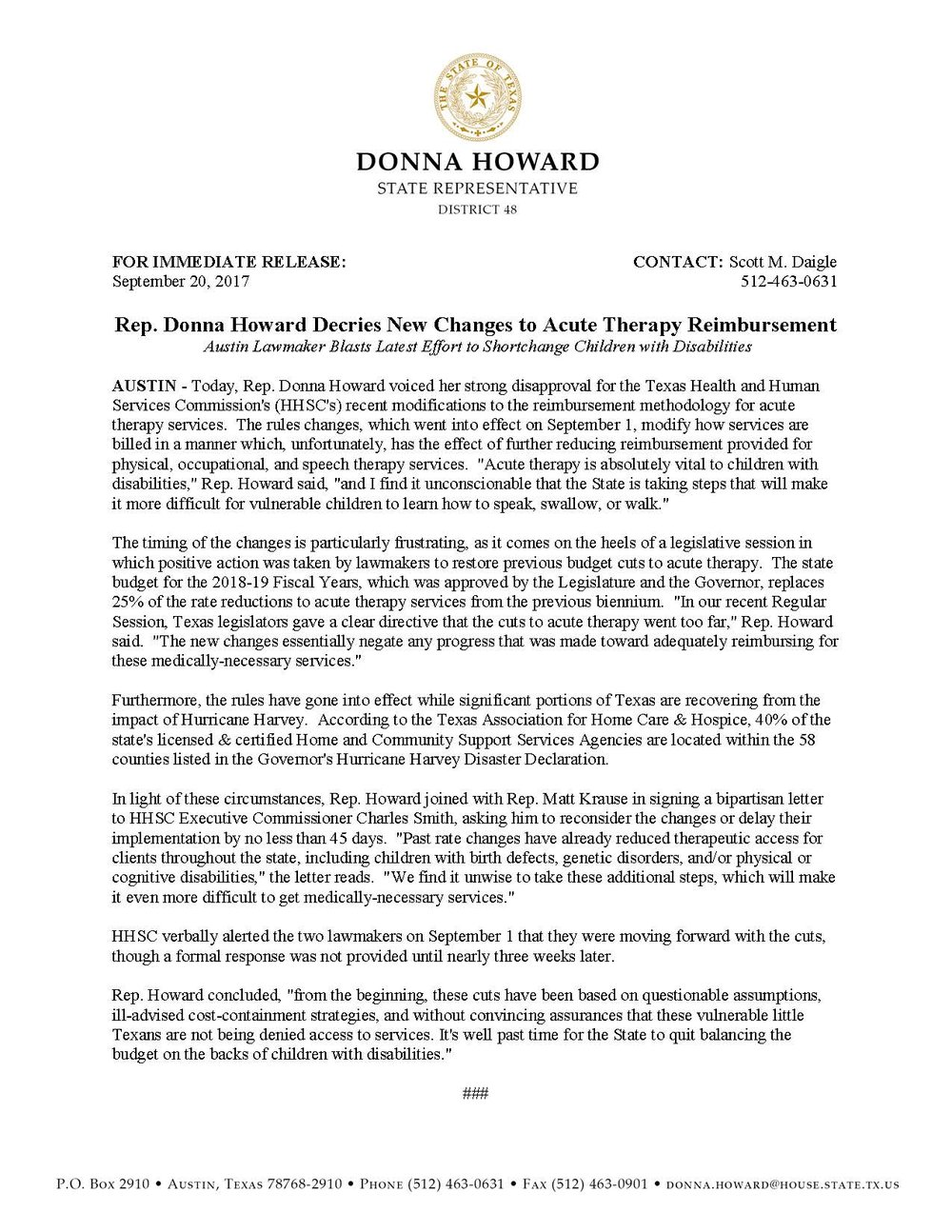Rep.  Donna Howard_Statement on Acute Therapy Rules Changes_09.20.2017.jpg