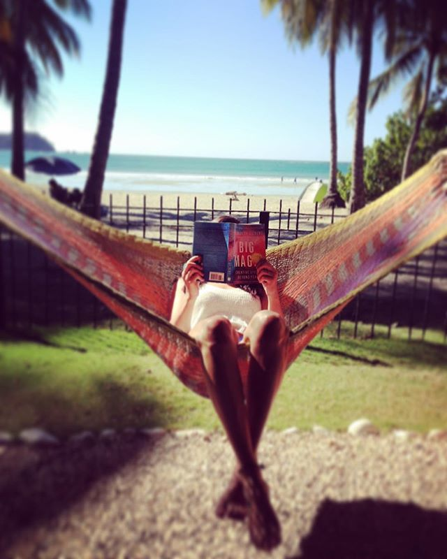 This is where I'll be spending my Sunday 🏝✌️🌊🙏📚 I've been enjoying every page of my holiday book - Big Magic by Elizabeth Gilbert. I highly recommend this read for anyone looking to live a creative life. Thank you Ms. Gilbert for you inspiring words.. . . #bigmagic #creativelife #creativeliving #beachreading #hammock #inspired #creativity #sundayvibes #samarabeach #costarica #holiday