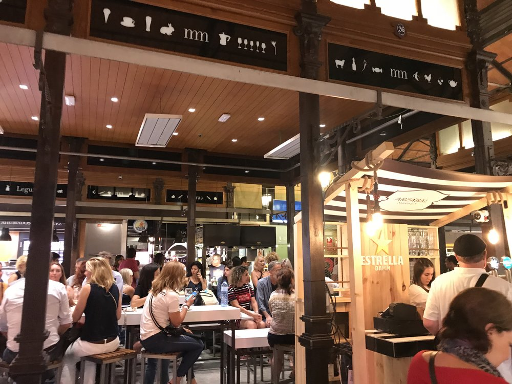 The Mercado San Miguel in Madrid was a great place to sample amazing Spanish specialties. We shared a table with a Portuguese couple and had a lovely, if halting, conversation.