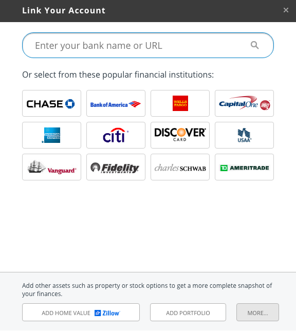 linking an account in personal capital