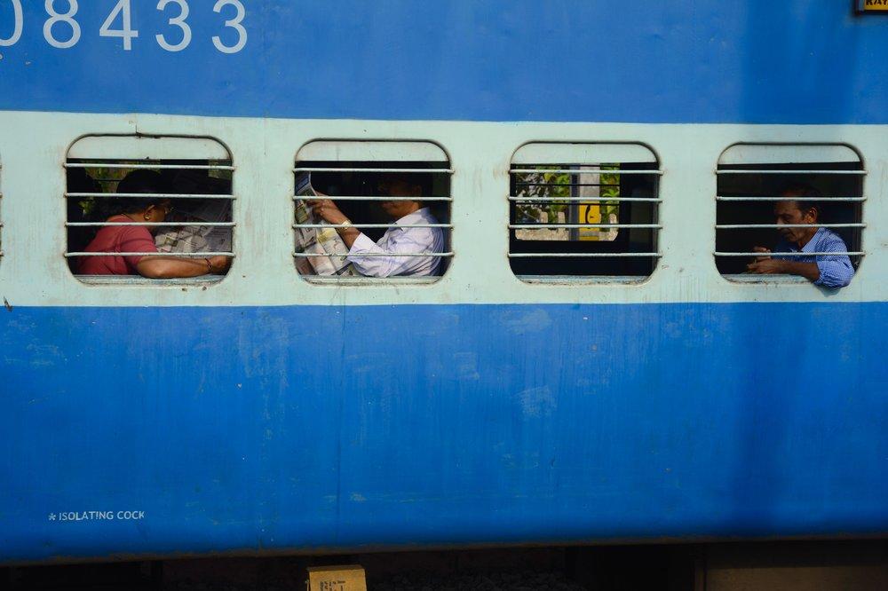 Reading on train.