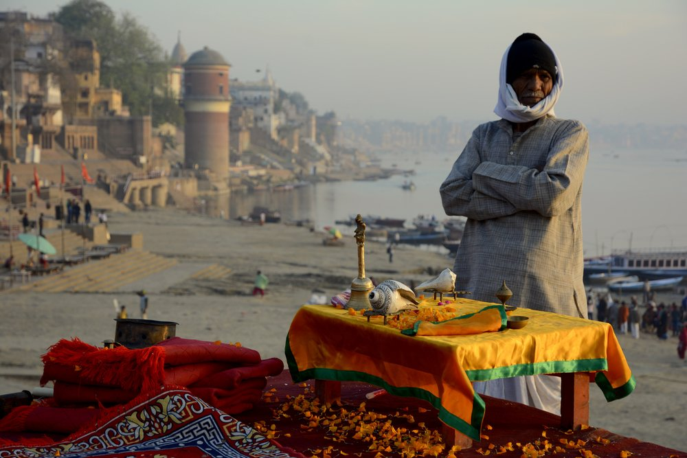Man at Assi Ghat after morning puja.