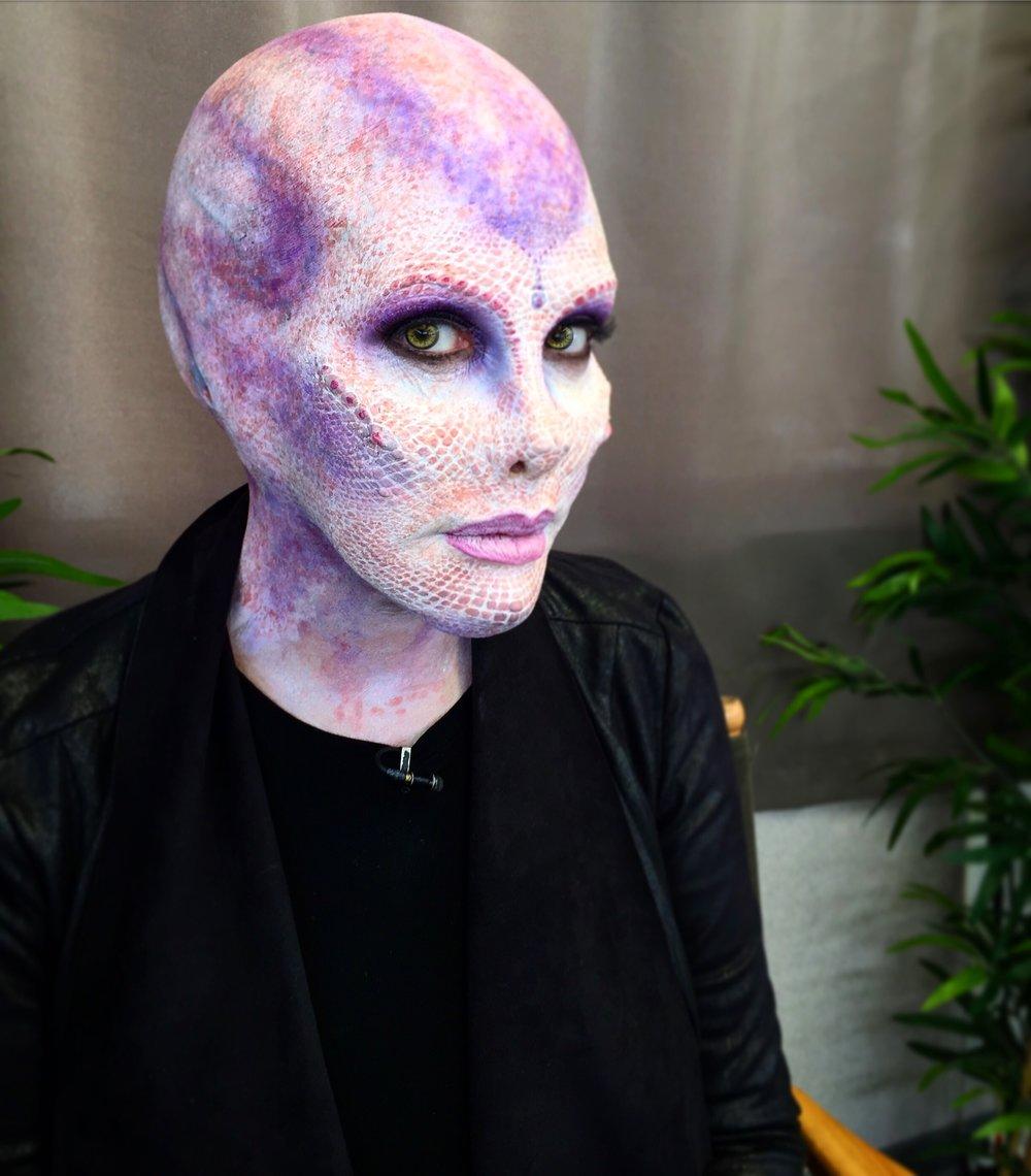 Alien makeup on Kym Douglas. MUA's: Hannah Sherer and Shelby Patton