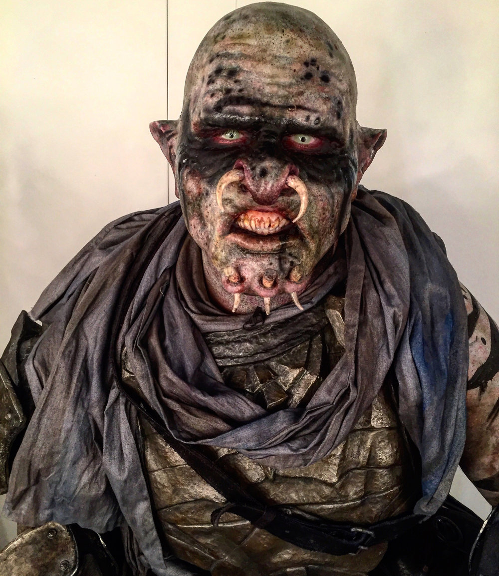 Orc Makeup for Warner Brothers E3 Convention Booth. MUA: Hannah Sherer, MU Assistant: Jerry Noriega. Sculpted by: Hannah Sherer. Teeth Sculpted by: Hannah Sherer.