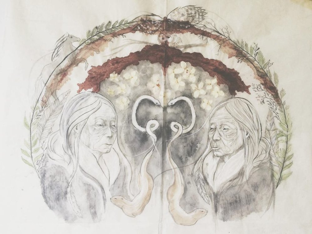 """Resolve – Rice paper, menstrual blood, gouache, pen. """"Reflections and projections of the self. Animal and plant medicine that my adopted first nations family teaches me about on the Red Road. Otters represent a feminine balance, expressing joy for others, absence of the jealousy, the creation of space for others. Snake represents the acceptance of all aspects of one's life, shedding skin, experiencing the whole without resistance. Owl represents death (metaphorically and literally) and seeing through the darkness/illusion. Sage and cedar representing cleansing."""""""