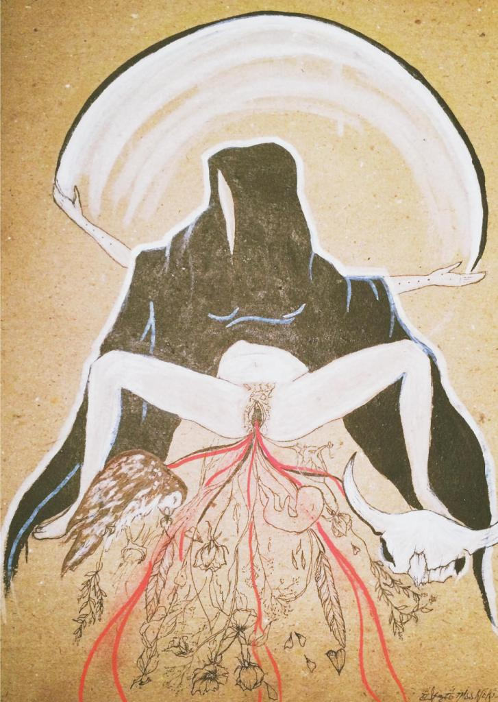 """Rapture of the High Priestess – ink drawing and pastel on recycled paper. """"This is a darker piece that represents the shadows that haunt one in heartbreak. Sacred objects and symbols, death comes out of a rotting womb of pain. She holds herself steady under the moon which illuminates the dark. She balances the darkness as a teacher."""""""