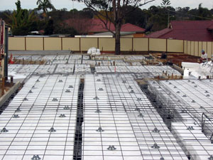 Steel reinforcement to waffle raft slab.