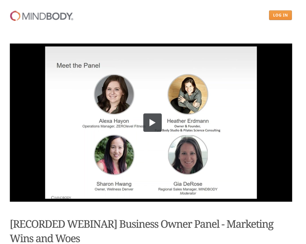 mindbody online webinar marketing wins and woes pilates owners