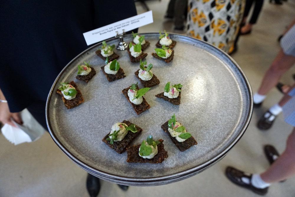 Whipped Cod Roe, Kelp, Charcoal Rice Crisp, Beach Succulents - Chef Brooke Payne for Alex Dobrysz (Epocha)