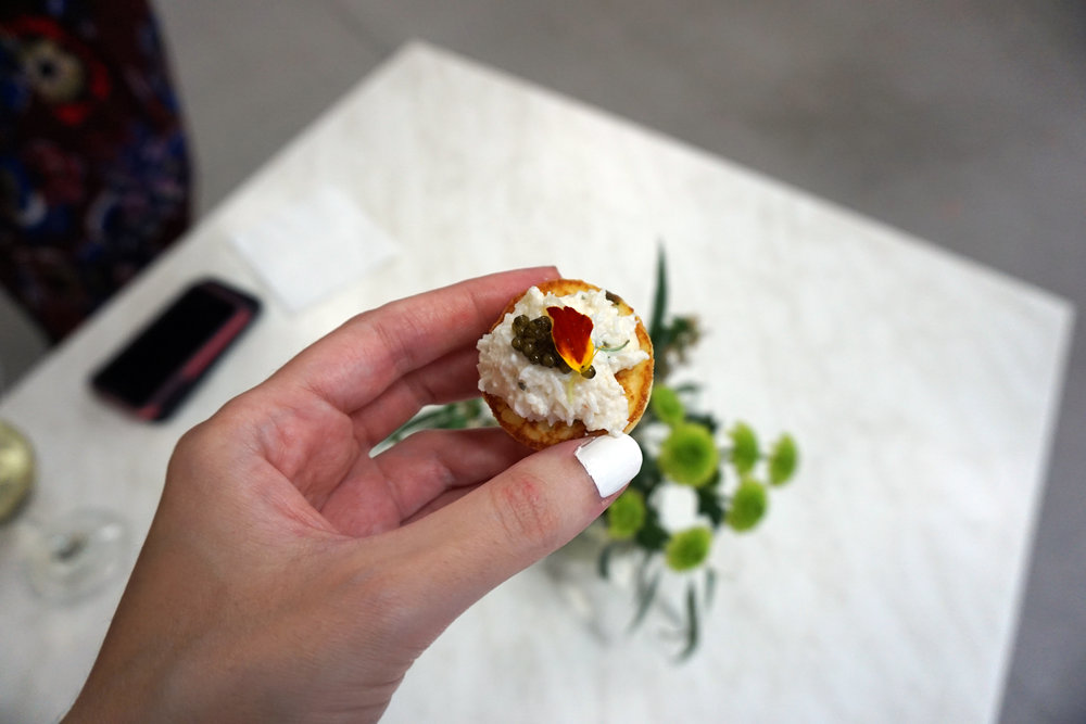 Potato and Chive Pikelet with Spanner Crab, Lemon Aioli and Caviar - Chef Emma D'Alessandro (Donovans)