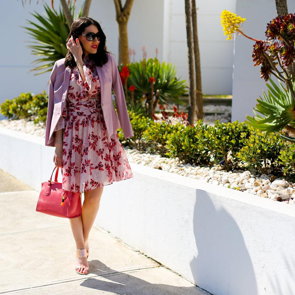 Lisa wears -  Dress & Jacket  by  Saba ,  Bag  by  Braun Buffel ,  Shoes  by  Mollini ,  Jewellery  by  Sophie Catherine