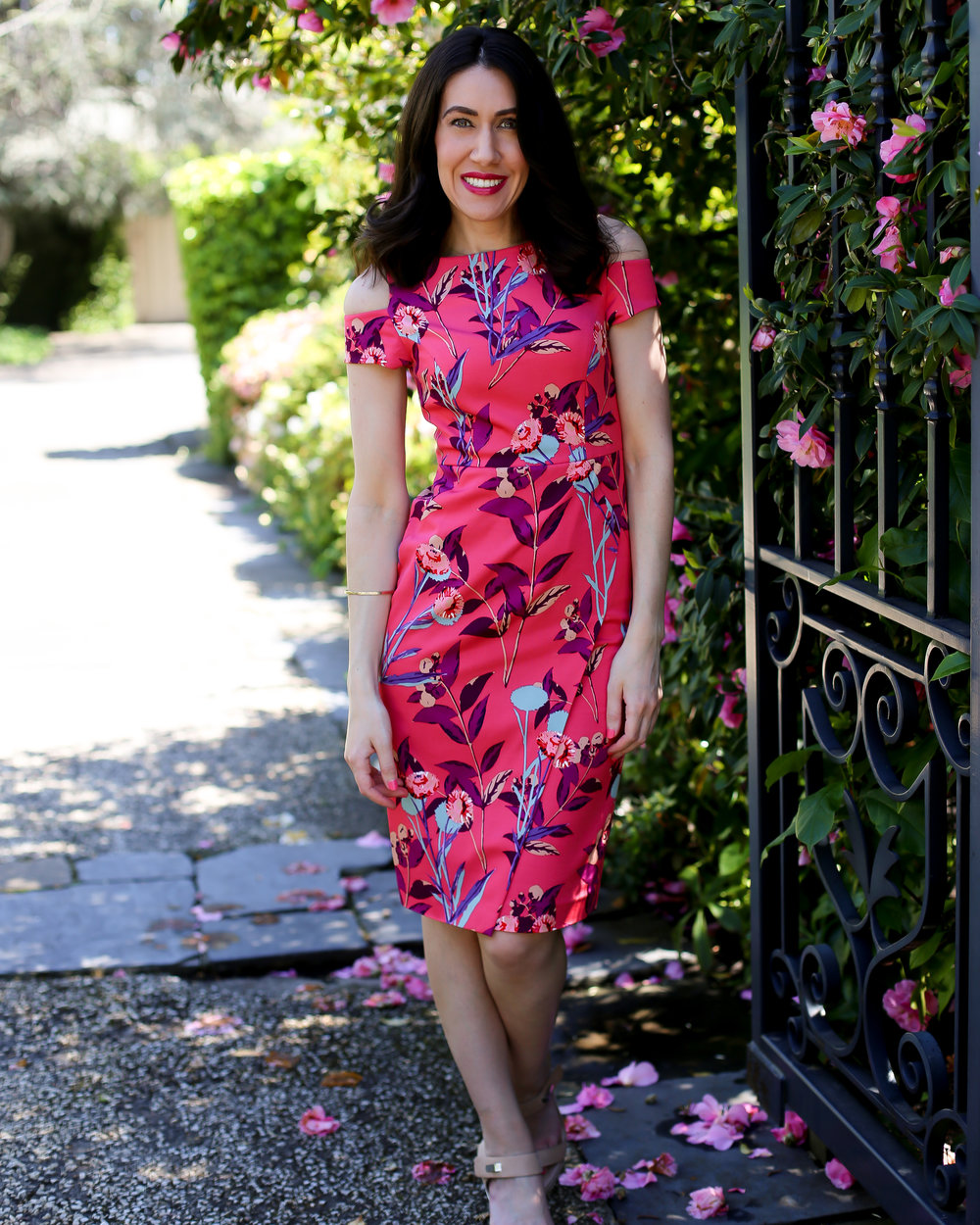 Lisa wears  David Lawrence Caroline Cut Out Floral Dress