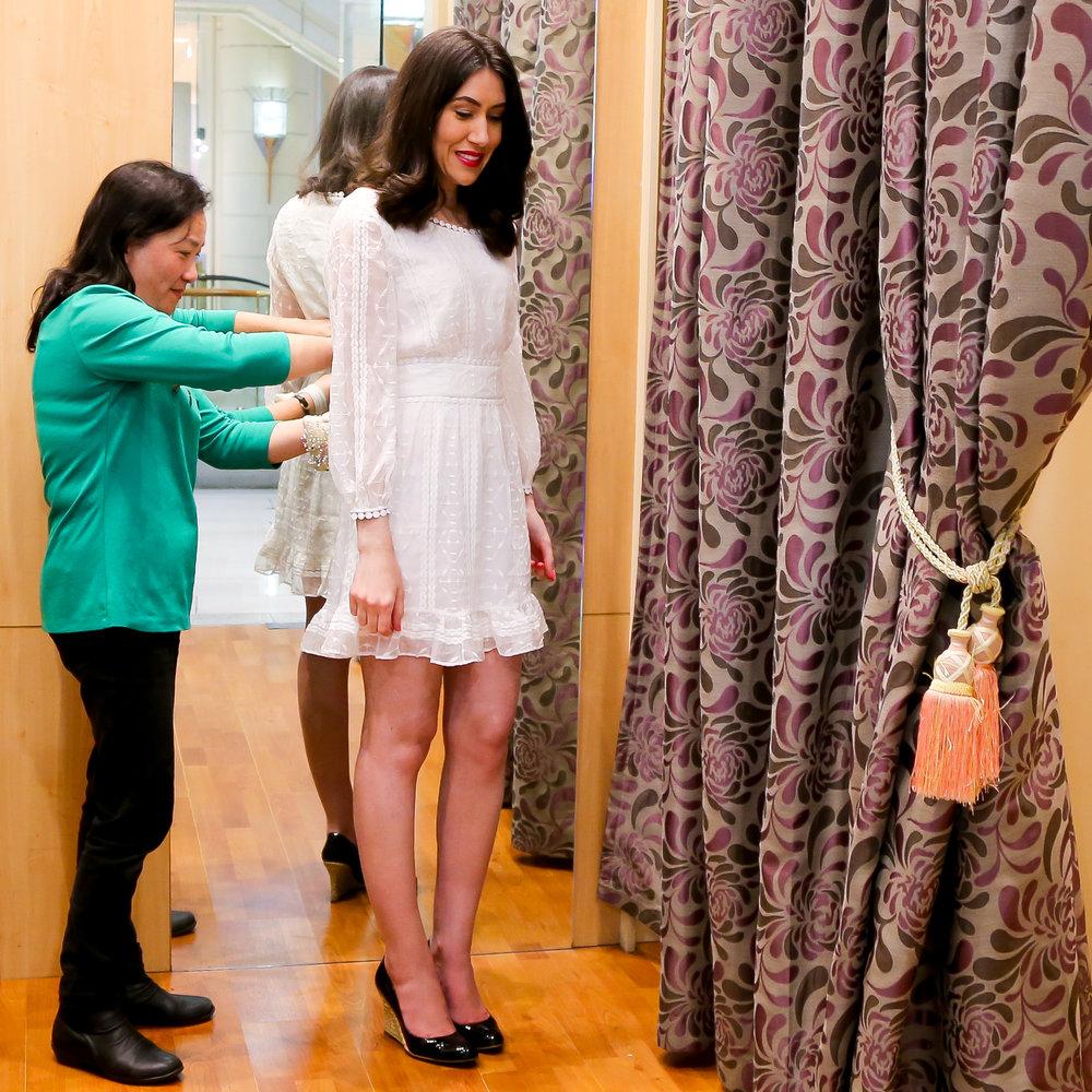 Lisa wears dress by  Saba