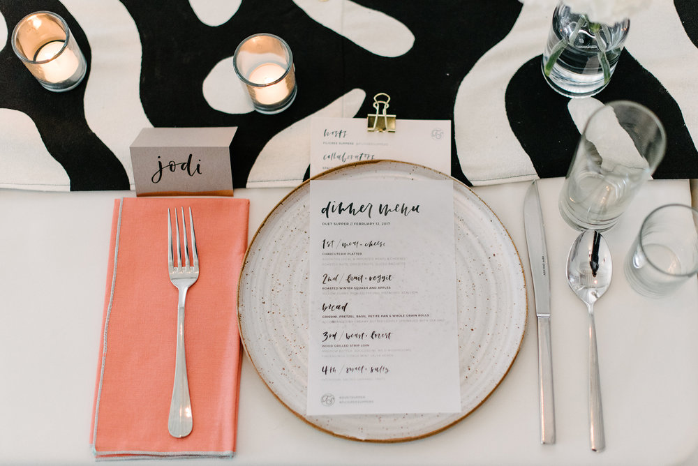 Calligraphy and menu design by Grace Niu, photo by Jasmine Pulley