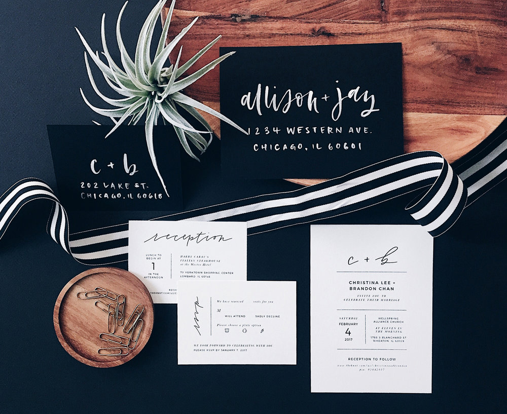 Photo, styling, design and calligraphy by Grace Niu Design.