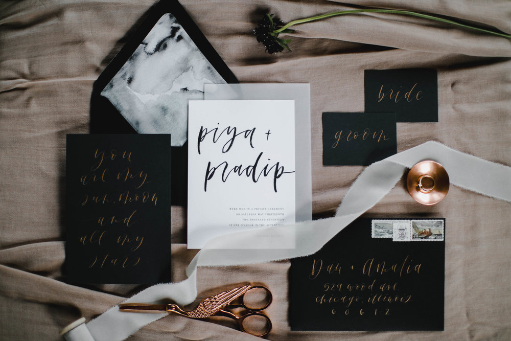 Photo by  Melody Joy Photography . Styling, stationery design and calligraphy by Grace Niu Design.