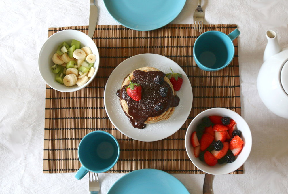 pancakes with fruit and chocolate