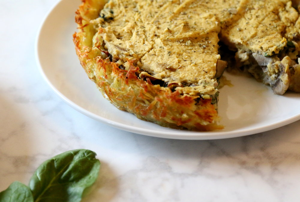delicious vegan quiche: mushrooms and spinach