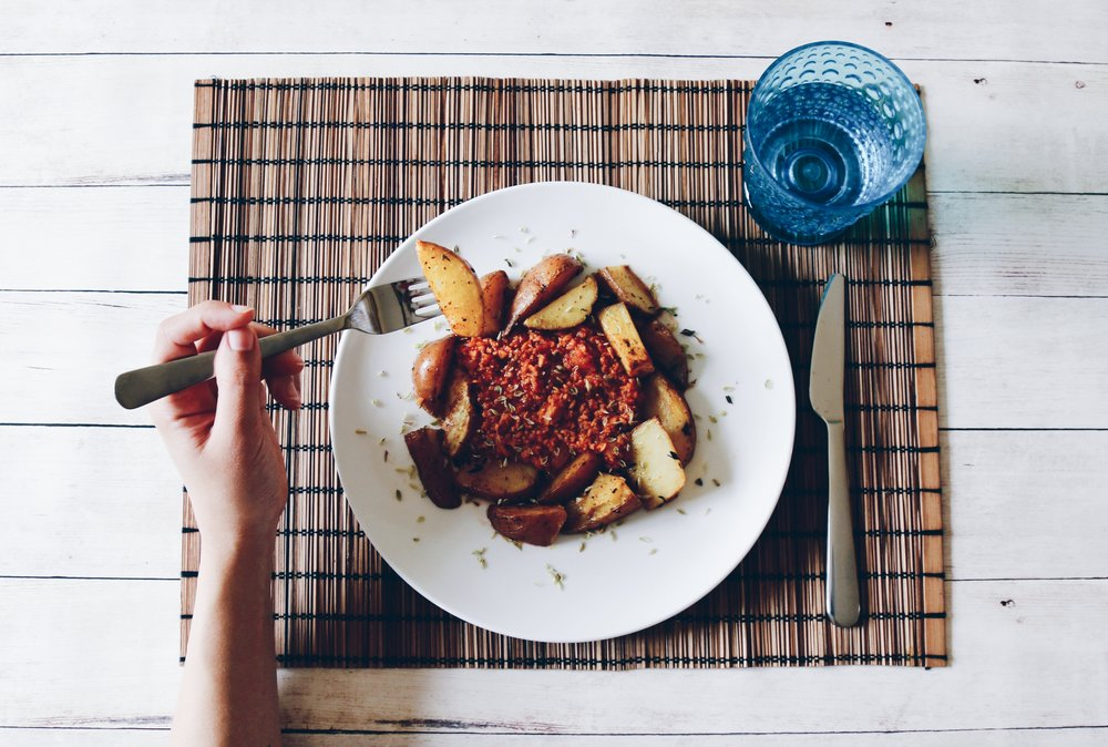 soya bolognese with roasted potatoes