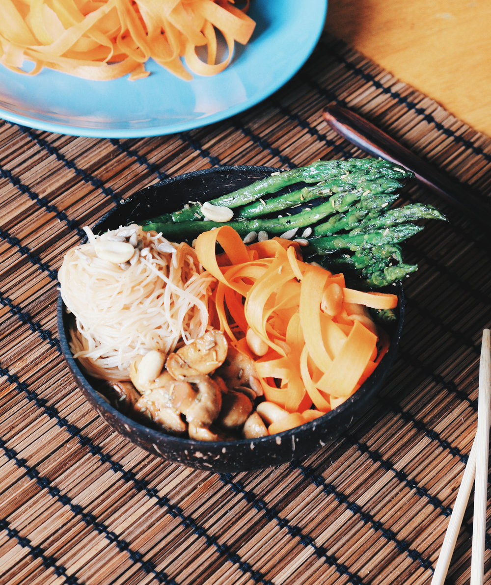 rice noodles buddha bowl
