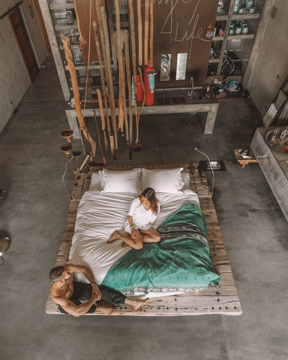 bed blanket travel couple lifestyle photography hotel room