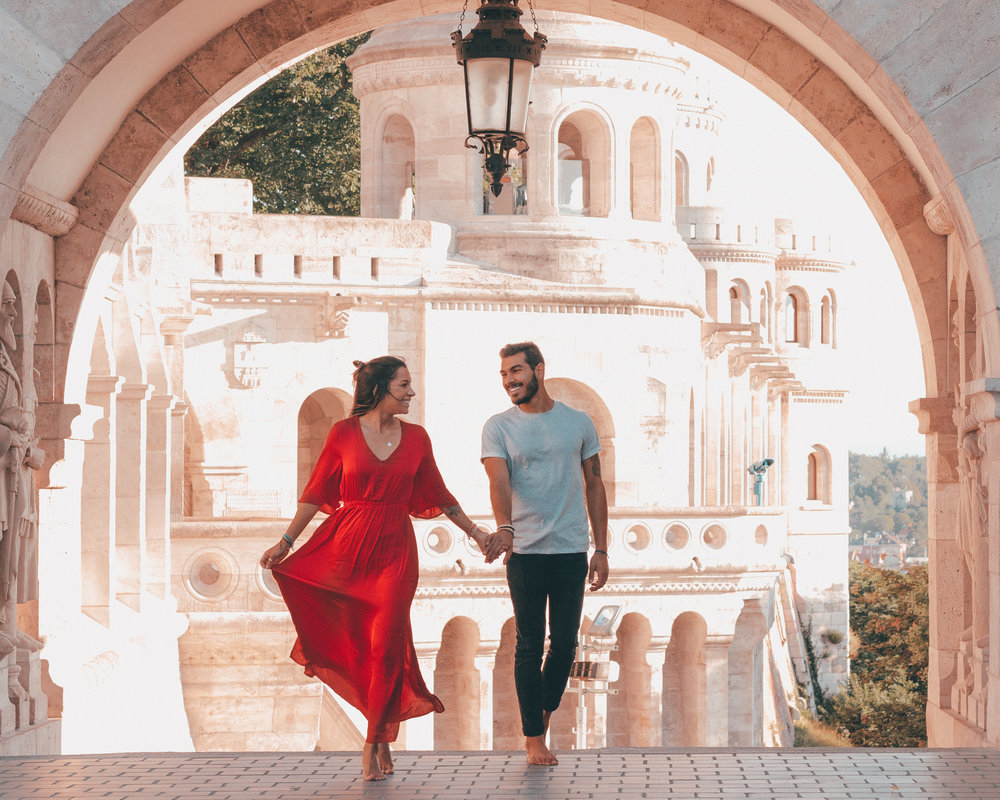 freeoversea travel couple red dress oysho miguel patricia budapest hungary interrail europe beautiful photography best places instagram