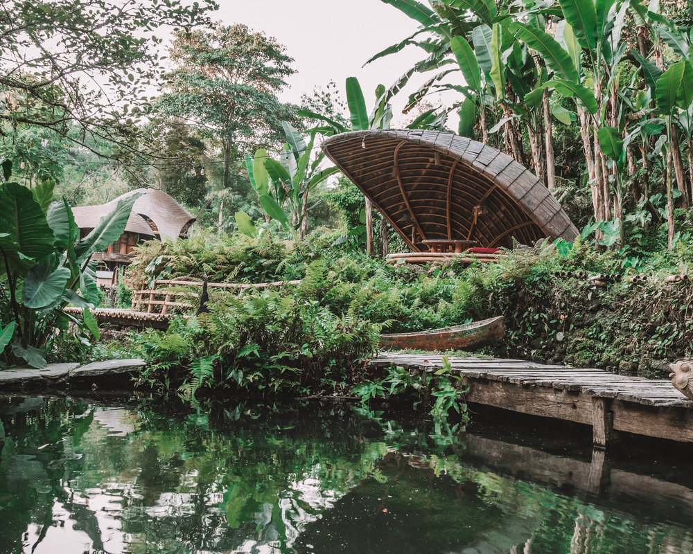 Sunset romance at bambu indah jungle tent ecological ethical sustainable best glamping bali hotels