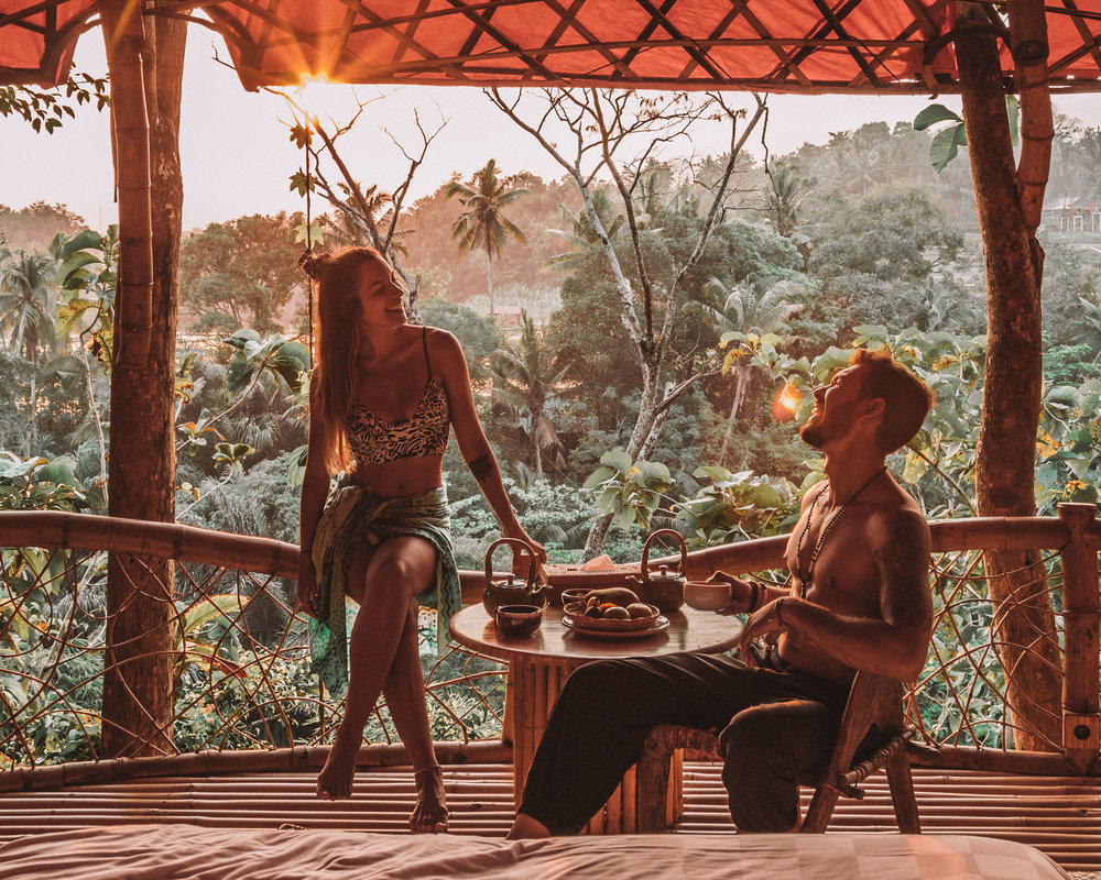 Sunset romance at bambu indah jungle tent room goals nature view breakfast couple travel freeoversea
