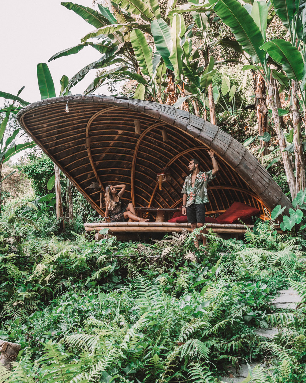 Sunset romance at bambu indah jungle tent cocoon house jungle vibes best hotels bali ubud indonesia sustainable ecological