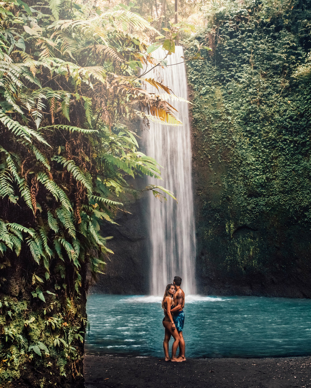 tibumana waterfall beautiful couple travel asia bali indonesia best places to go