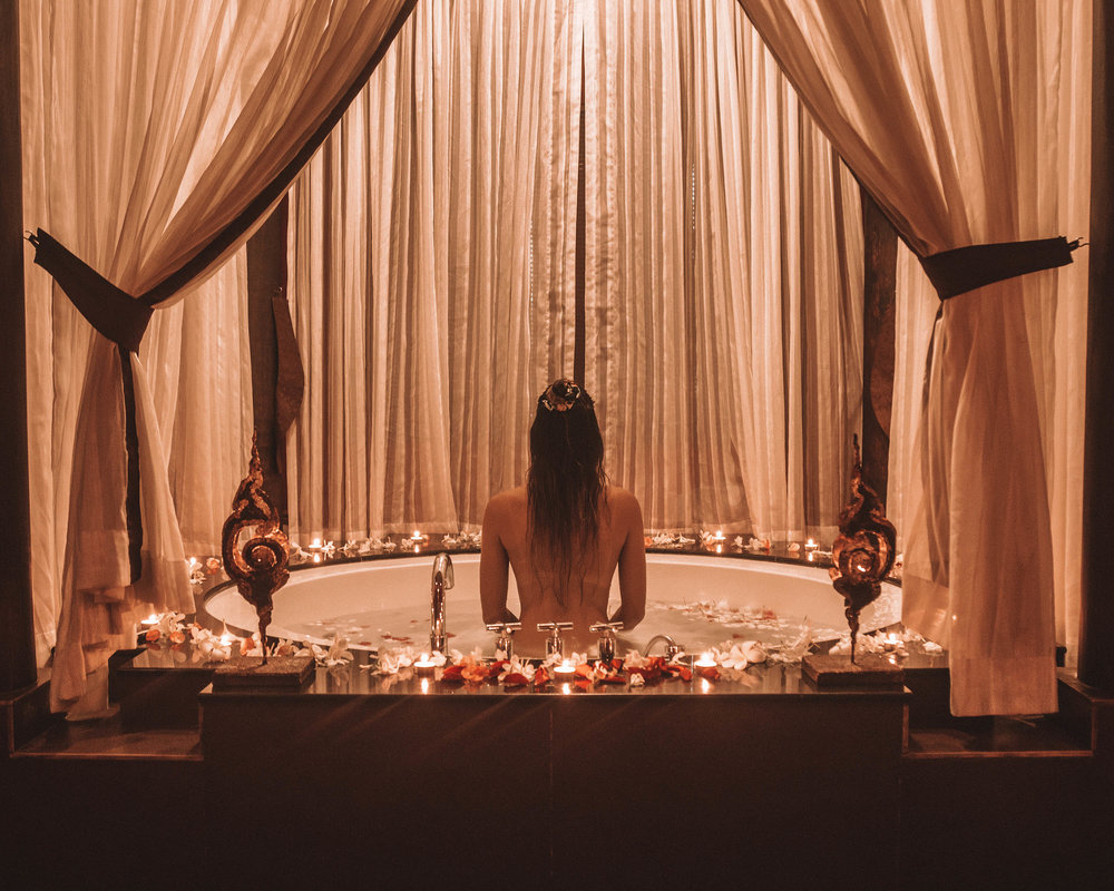 Cambodia Siem Reap Angkor Miracle Resort and Spa flower bath love couple romance time travel candles light girls moment
