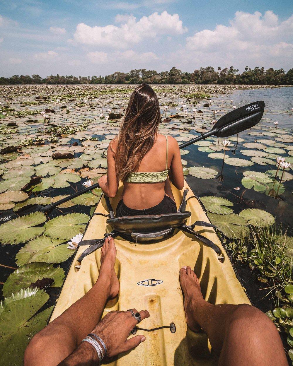 Anuradhapura ulagalla by uga escapes heritage culture Sri Lanka lake kayak ride water lilies