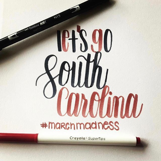 we're cheering for our Gamecocks!!! 🙌🏼🏀🐓 one of us is especially excited 🙋🏼‍♂️❗️calligraphy & image by @taylorbdesignco #spursup #securethebag #gococks #gogamecocks #finalfour