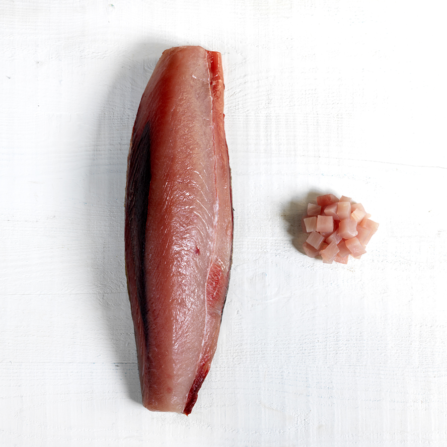Albacore Tuna - Our Albacore MSC Certified Tuna from Walkers Seafood is the best in class of the east coast tuna fleet. Wild harvested by hook and line to the sustainable standards set by the Food and Agriculture Organisation of the United Nations (FAO) and Australian Conservation Act. All fish are landed live on the line and ike jime brain spiked, the most humane method of euthanizing the fish and retaining the upmost culinary integrity.