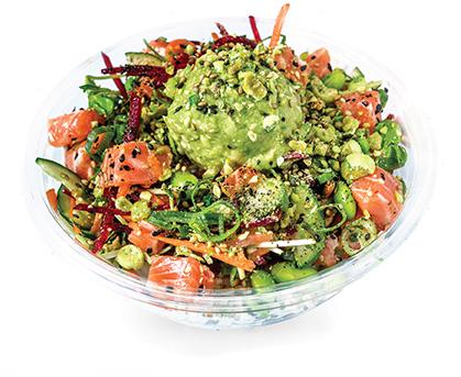 WASABI SALMON   wasabi ponzu, cucumber, edamame, pickled carrot, shredded beetroot, snow pea sprouts, furikake, wasabi peas