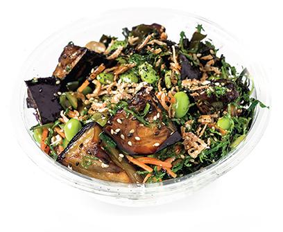 MISO SESAME EGGPLANT -1 VG   miso tahini, pickled carrot, shredded kale, seaweed salad, togorashi, crispy onion, furikake