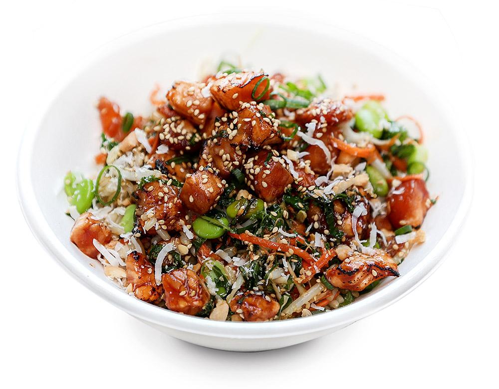 HOT TERIYAKI SALMON  nudefish teriyaki, saute bean sprouts, shredded kale, carrot, edamame, crispy onions