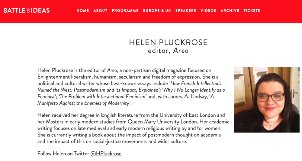 helen pluckrose battle of ideas spiked areo