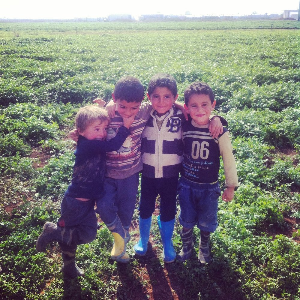 ZAHLE | Syrian refugee boys play in Zahle's potato fields. November 2, 2015.