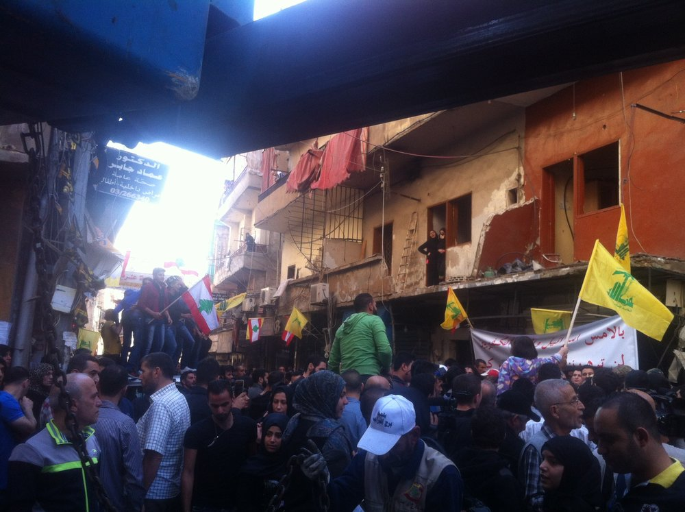 BURJ AL-BARAJNEH | At the site of a deadly twin suicide bombing that struck the busy Beirut suburb of Burj al-Barajneh leaving 43 dead. It was later claimed by ISIS. November 13, 2015.