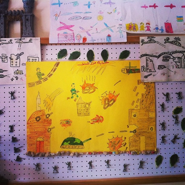 HALBA | Drawings by Syrian children at a War Child-DRC run center in Akkar. October 11, 2013.