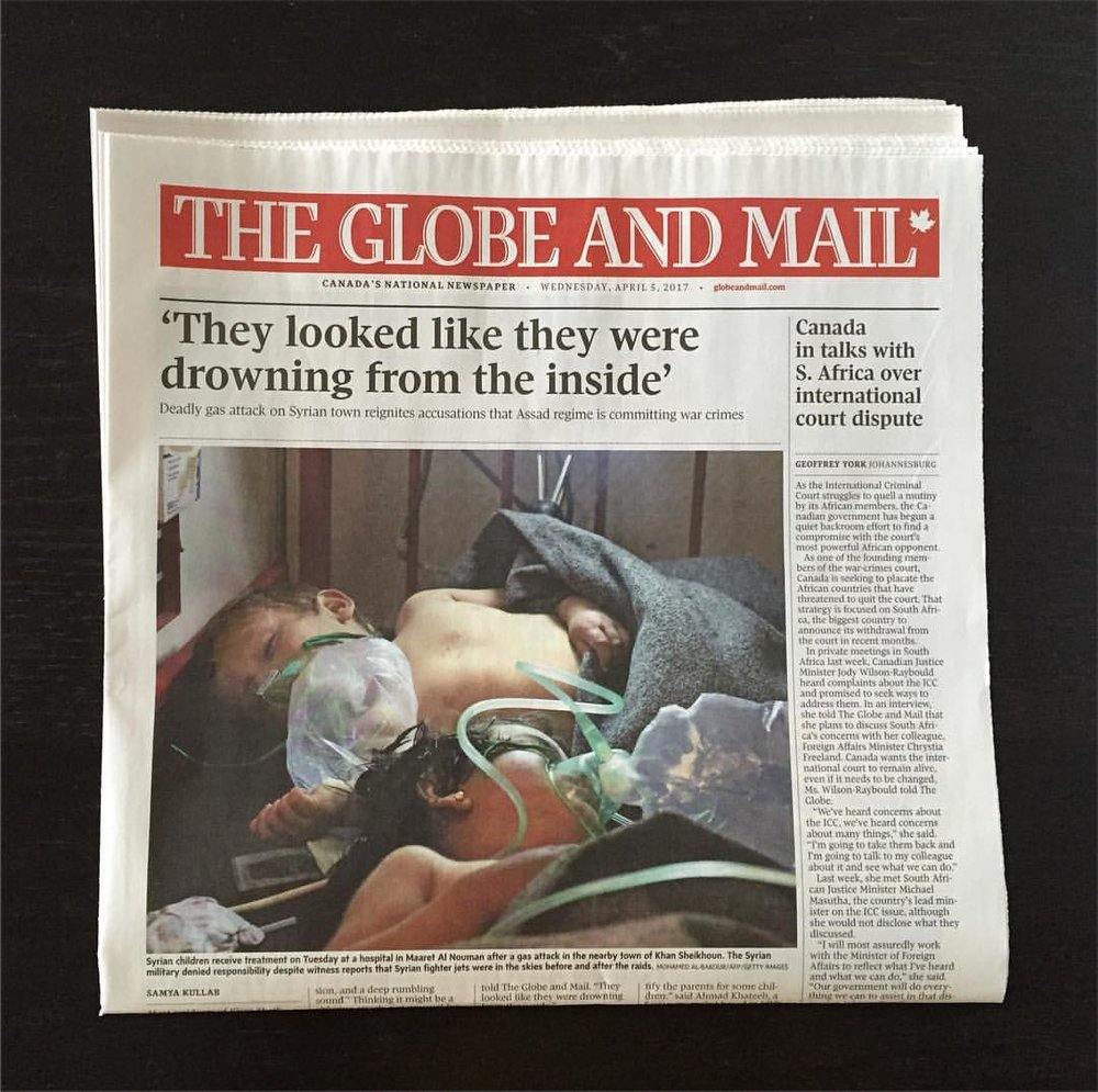 My report about the horrific gas attack in Khan Sheikhoun on the front page of today's The Globe and Mail. Pick it up, read it, talk about what's happening in Syria. April 5, 2017.
