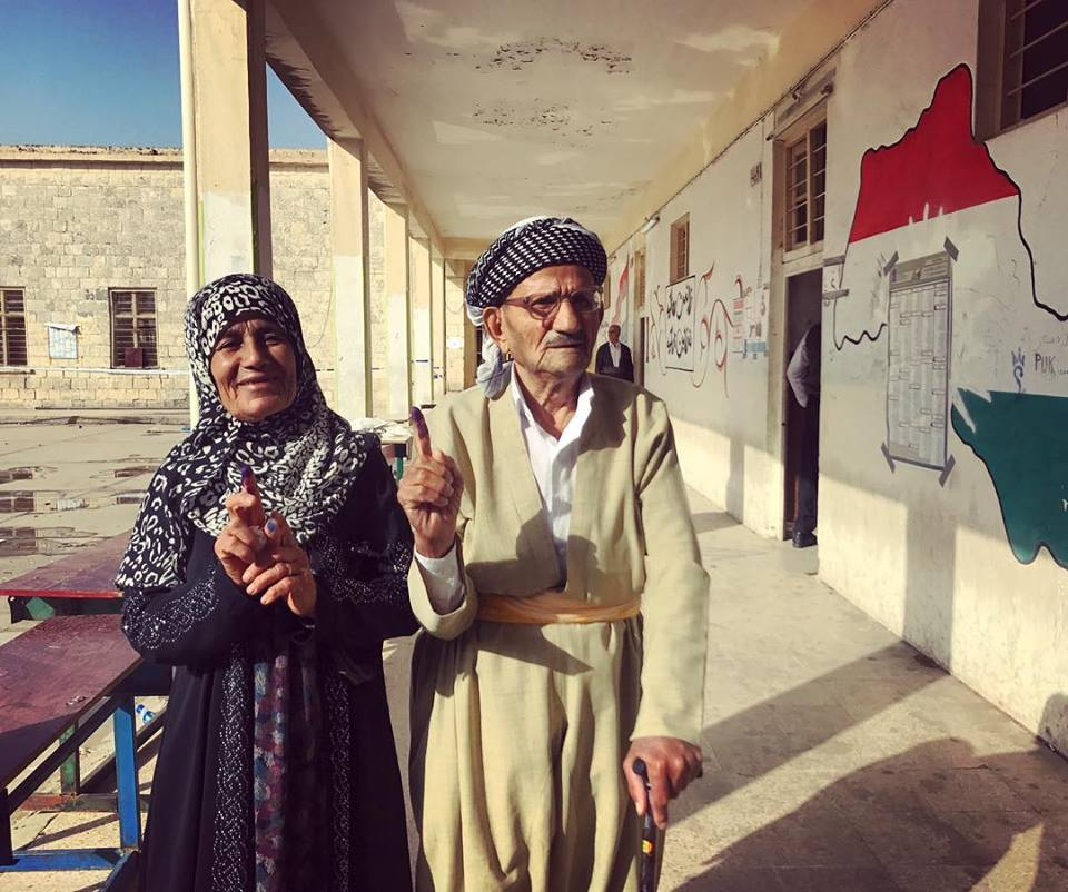 "KIRKUK | This couple came first thing in the morning to vote in this Kurdish neighborhood of Kirkuk. ""It's important for Kurds right now in Kirkuk."" #iraqelections2018 , May 12, 2018."