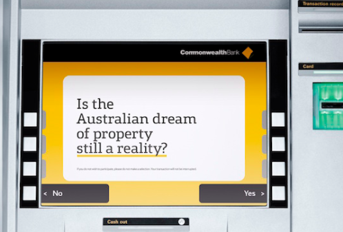 Above: Image of CommBank ATM presenting customers with the questions to help the bank build a better understanding of public opinion.