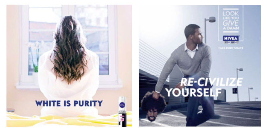 "(Left) Nivea's social media campaign ""White is Purity"". (Right) Nivea's 2011 print campaign ""Re-Civilize Yourself""."