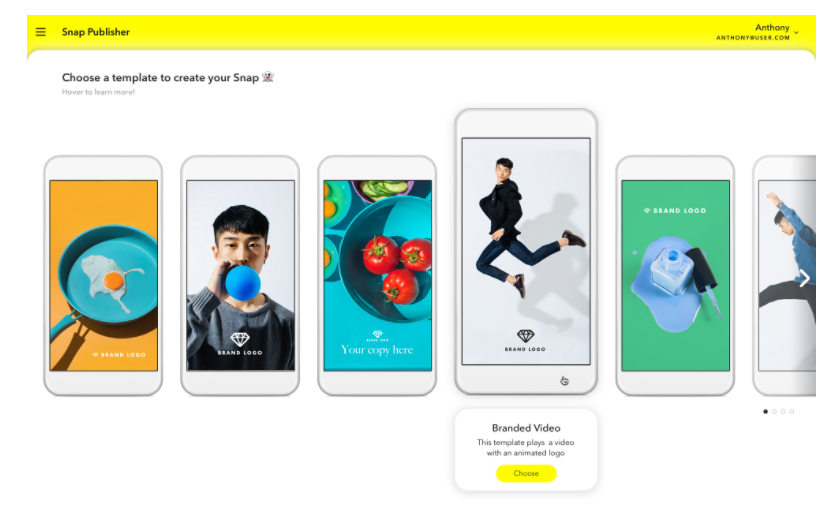 Above: Advertisers can create their own advertising artwork using Snap Publisher