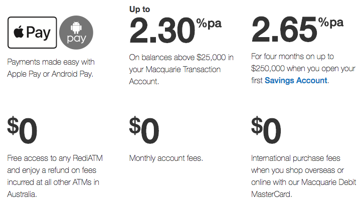 Macquarie Bank Transaction Account Offers