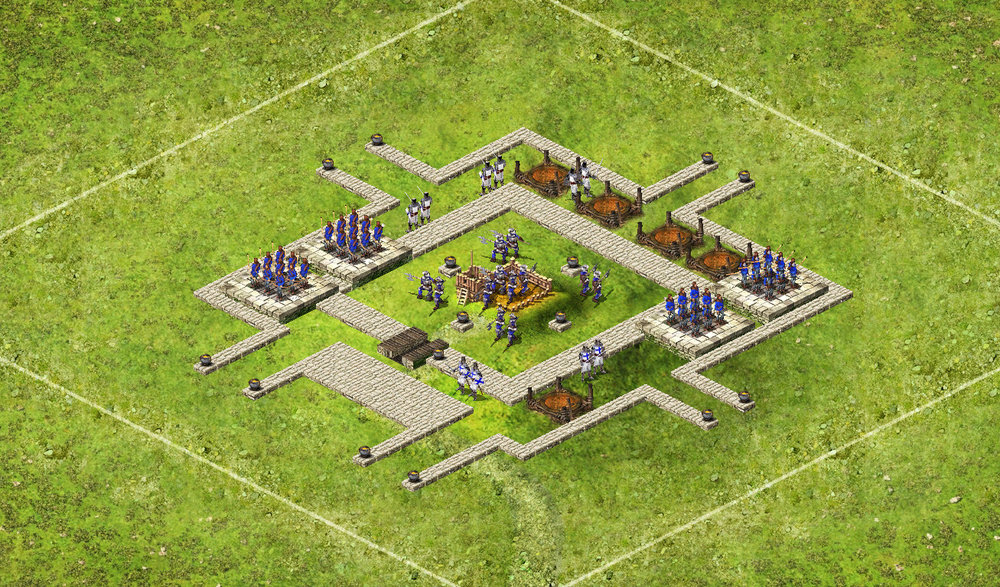 Wolf Small 4 Tower - 3 Captains 73 Archers / 44 Pikes / 63 Catapults