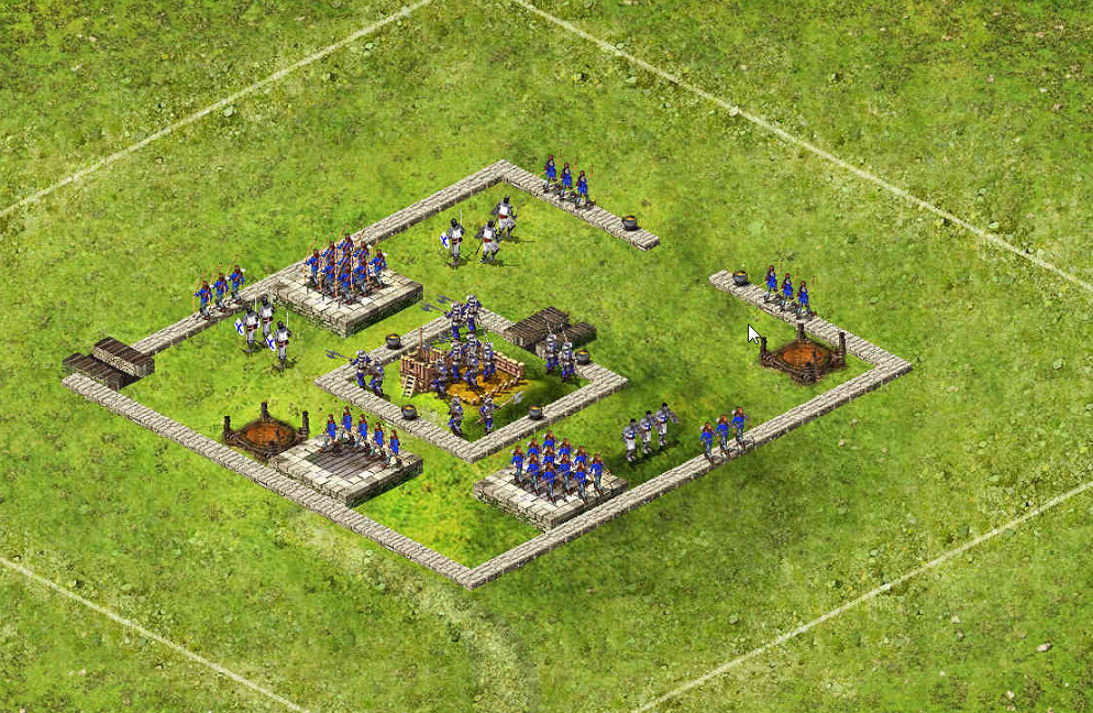 Wolf Small 3 Tower Open Back - 3 Captains 83 Archers / 44 Pikes / 39 Catapults